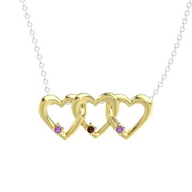 Round Red Garnet 18K Yellow Gold Pendant with Amethyst