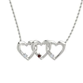 Round Red Garnet Platinum Pendant with Diamond