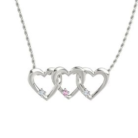 Round Pink Sapphire Platinum Necklace with Diamond