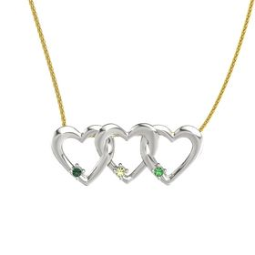 Round Peridot Platinum Necklace with Alexandrite & Emerald