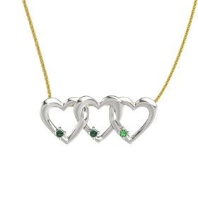 Round Alexandrite Platinum Necklace with Alexandrite & Emerald