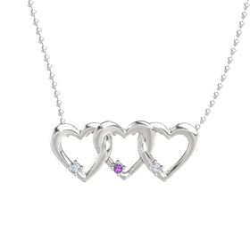 Round Amethyst Sterling Silver Necklace with Diamond