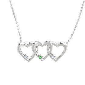 Round Emerald Sterling Silver Necklace with Diamond