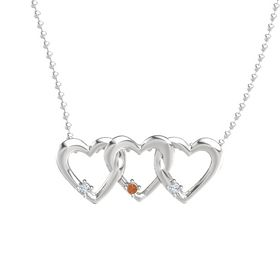 Round Fire Opal Sterling Silver Necklace with Diamond