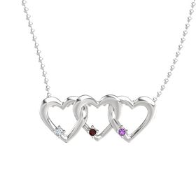 Round Red Garnet Sterling Silver Necklace with Diamond & Amethyst