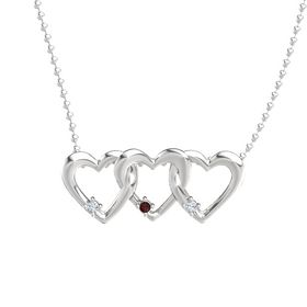 Round Red Garnet Sterling Silver Necklace with Diamond