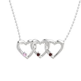 Round Red Garnet Sterling Silver Pendant with Pink Tourmaline and Red Garnet