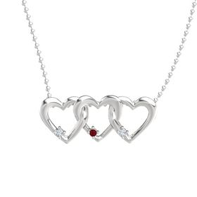 Round Ruby Sterling Silver Necklace with Diamond