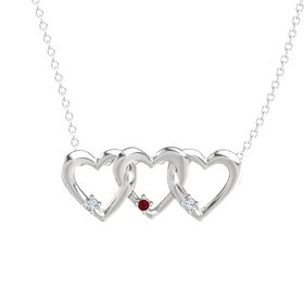 Round Ruby Sterling Silver Pendant with Diamond
