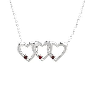 Round Ruby Sterling Silver Pendant with Red Garnet