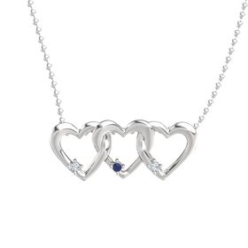 Round Blue Sapphire Sterling Silver Pendant with Diamond