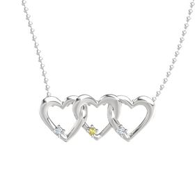 Round Yellow Sapphire Sterling Silver Necklace with Diamond