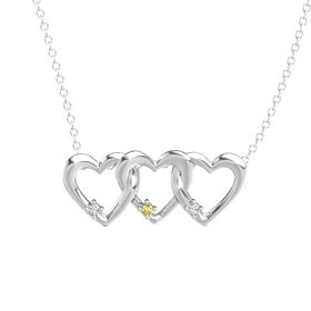 Round Yellow Sapphire Sterling Silver Pendant with Diamond