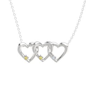 Round Yellow Sapphire Sterling Silver Pendant with Yellow Sapphire and Diamond