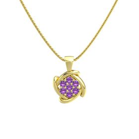 Round Amethyst 14K Yellow Gold Pendant with Amethyst