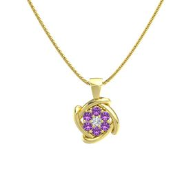Round Diamond 14K Yellow Gold Pendant with Amethyst