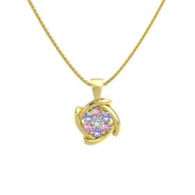 Round Blue Topaz 14K Yellow Gold Necklace with Pink Sapphire & Iolite