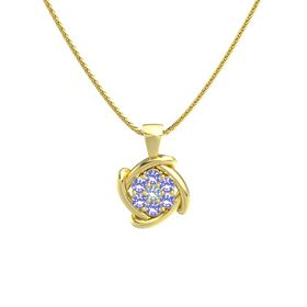 Round Blue Topaz 14K Yellow Gold Necklace with Iolite
