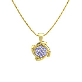 Round Iolite 14K Yellow Gold Pendant with Iolite