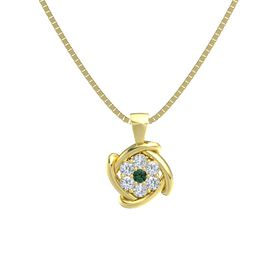 Round Alexandrite 14K Yellow Gold Pendant with Diamond
