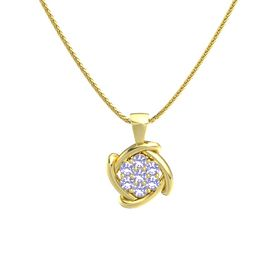 Round Tanzanite 14K Yellow Gold Pendant with Tanzanite