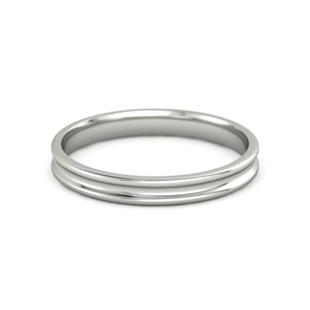 platinum ring thin concave stacking ring 3mm band