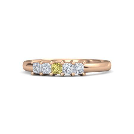 Princess Yellow Sapphire 14k Rose Gold Ring With Diamond Five Stone Artisan Band Gemvara