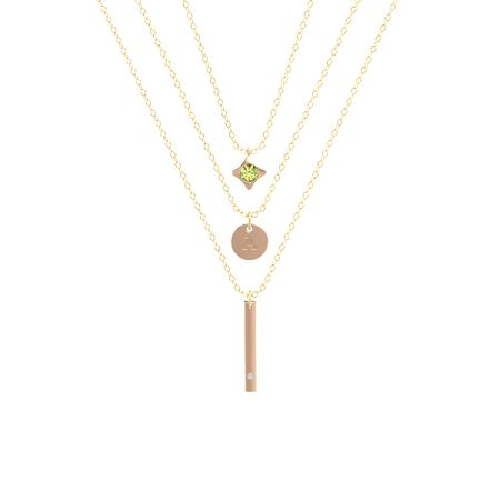 14k rose gold pendant with peridot and diamond triple layer triple layer necklace aloadofball Gallery