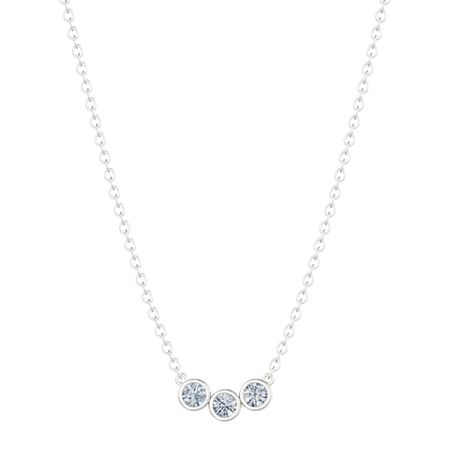 Triple Stone Necklace (Moissanite)
