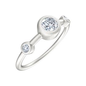 1/5 ct Moissanite Three-Stone Bevel Ring