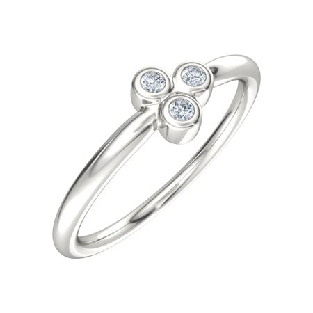 Three Bezel Ring With Moissanites