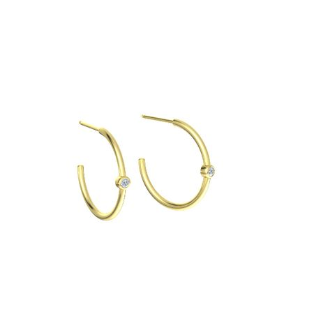 Single Stone Hoop Earrings