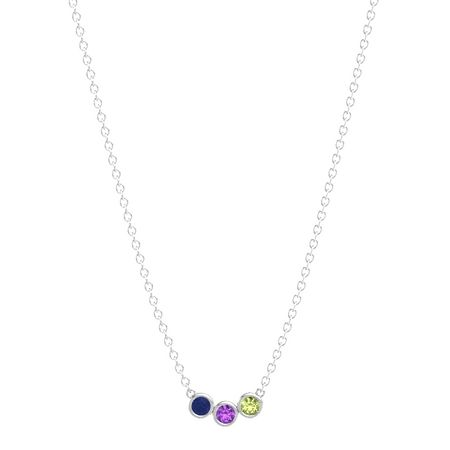 4f93635f5 Round Amethyst Sterling Silver Pendant with Blue Sapphire and ...