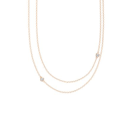 Round diamond 14k rose gold pendant with diamond double strand double strand necklace aloadofball Gallery
