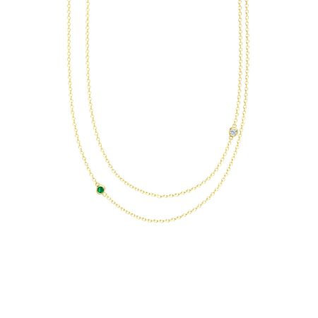 Round emerald 14k yellow gold pendant with diamond double strand double strand necklace aloadofball Choice Image