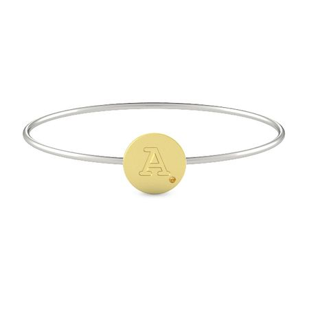 Initial Gem Disc Bangle