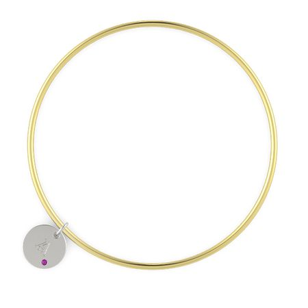 Initial Gem Disc Charm Bangle