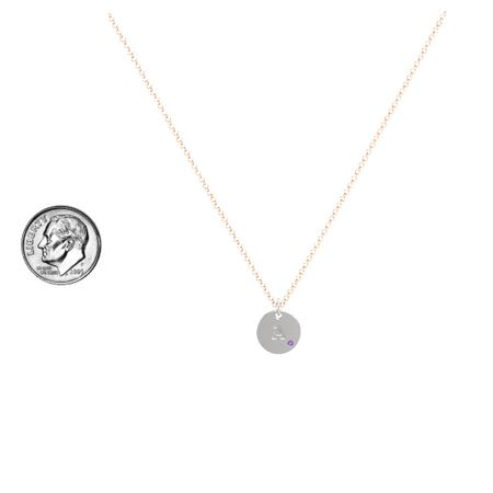 Initial Gem Disc Necklace