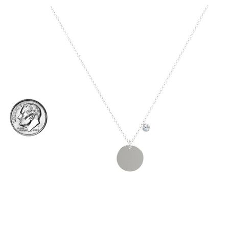 Single Gem Disc Necklace