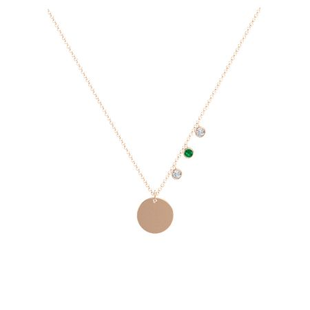 Triple Gem Disc Necklace