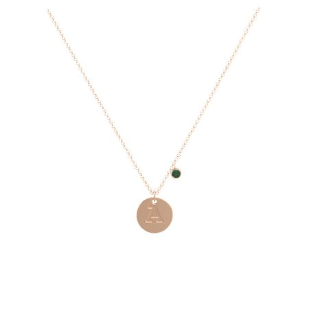 Initial Single Gem Disc Necklace
