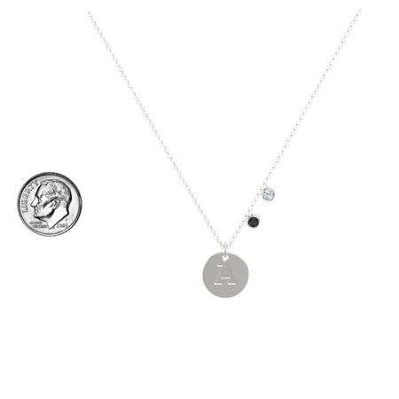 Initial Double Gem Disc Necklace