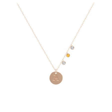 Round citrine 14k rose gold pendant with diamond initial triple initial triple gem disc necklace aloadofball Image collections