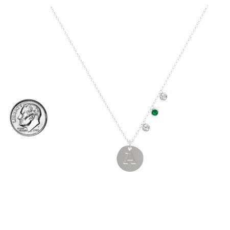 Initial Triple Gem Disc Necklace