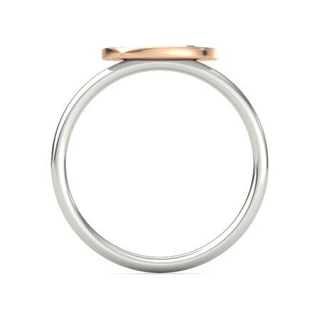 Round Black Diamond 14K White Gold Ring | Initial Gem Disc ...