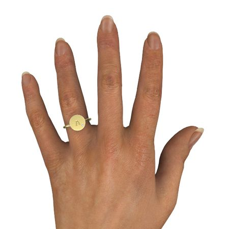 Initial Gem Disc Ring