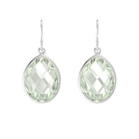 154fb47b8d2d3 Bold Pear Drop Earrings - Pear Briolettes Green Amethyst Sterling Silver  Earring