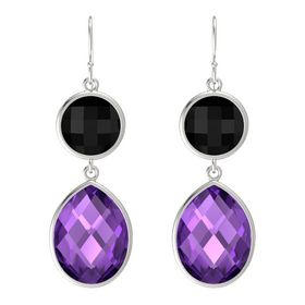 14K White Gold Earring with Black Onyx and Amethyst