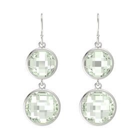 14K White Gold Earring with Green Amethyst