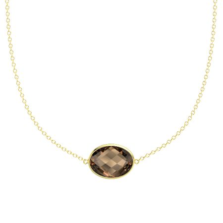 Oval briolettes smoky quartz 14k yellow gold pendant bold east bold east west oval necklace aloadofball Choice Image